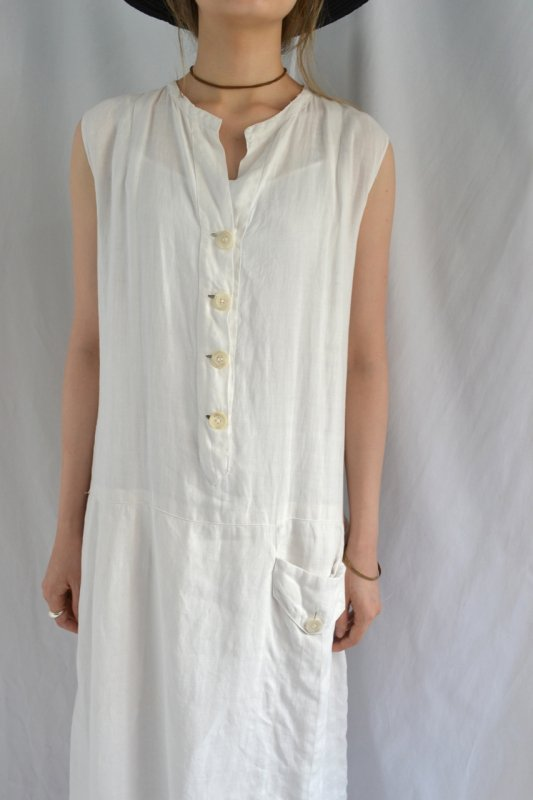 1940's France vintage hand made linen one-piece
