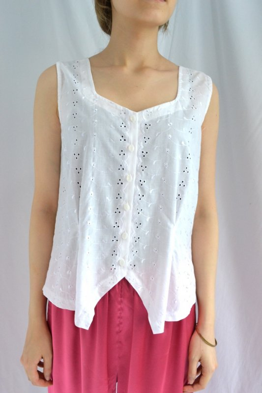 vintage cutwork lace sleeveless blouse