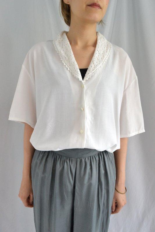 vintage lace collar white blouse
