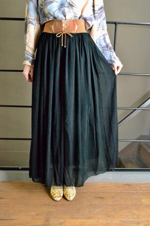 vintage see through long gather skirt