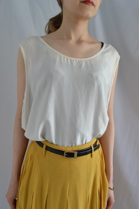 vintage ivory sleeveless silk blouse