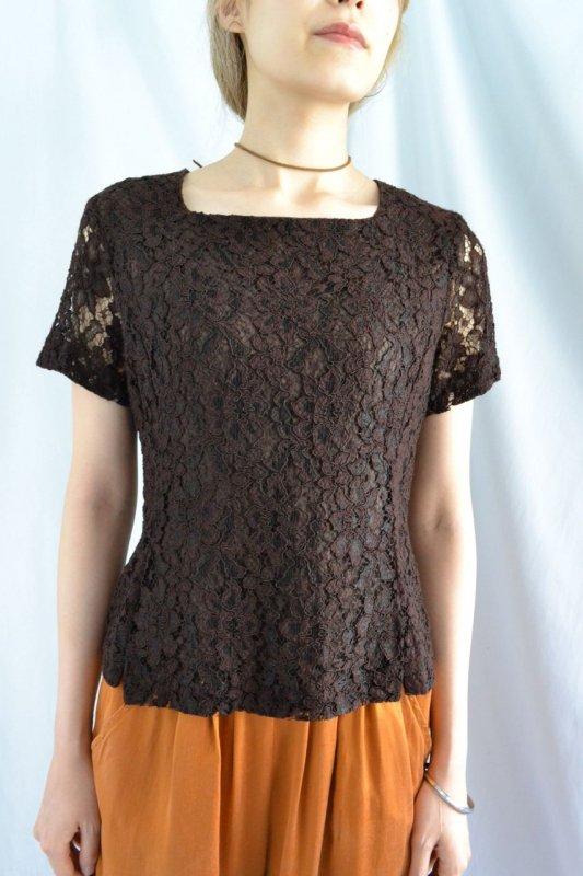 vintage blown color lace design blouse