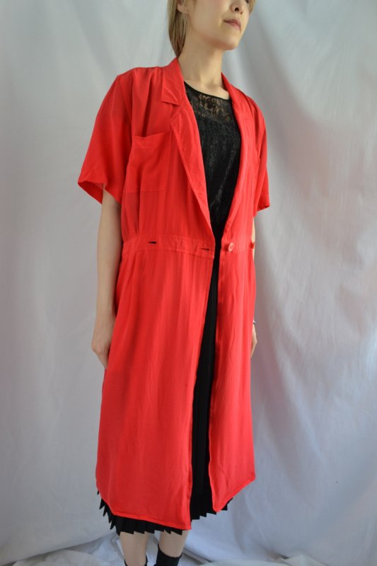 Red silk vintage front open dress