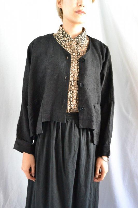 vintage black color linen short jacket