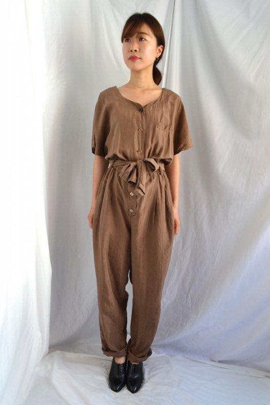 Vintage brown silk jump suit