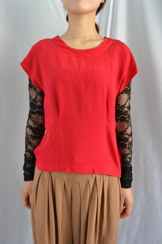 vintage red side button design silk blouse