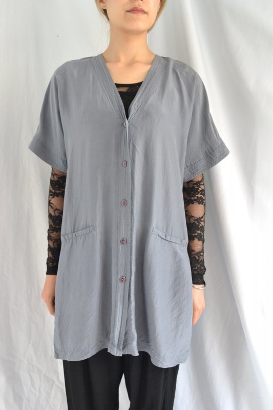 vintage grey collarless design silk blouse