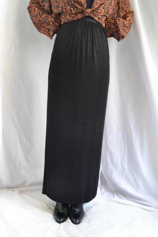 Black knit tight long skirt