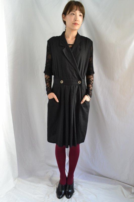 <img class='new_mark_img1' src='https://lara-vintage.shop-pro.jp/img/new/icons50.gif' style='border:none;display:inline;margin:0px;padding:0px;width:auto;' />Vintage black mesh sleeve jump suit