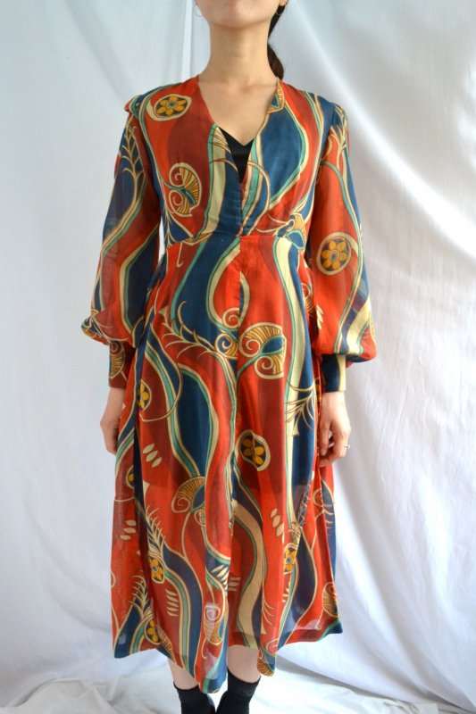 <img class='new_mark_img1' src='https://lara-vintage.shop-pro.jp/img/new/icons50.gif' style='border:none;display:inline;margin:0px;padding:0px;width:auto;' />1970's Vintage vivid pattern handmade dress