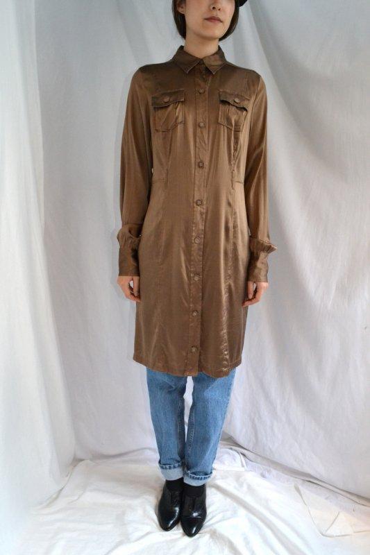 vintage blown color silk long blouse