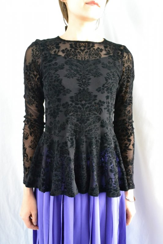 <img class='new_mark_img1' src='https://lara-vintage.shop-pro.jp/img/new/icons8.gif' style='border:none;display:inline;margin:0px;padding:0px;width:auto;' />vintage see��through lace peplum blouse