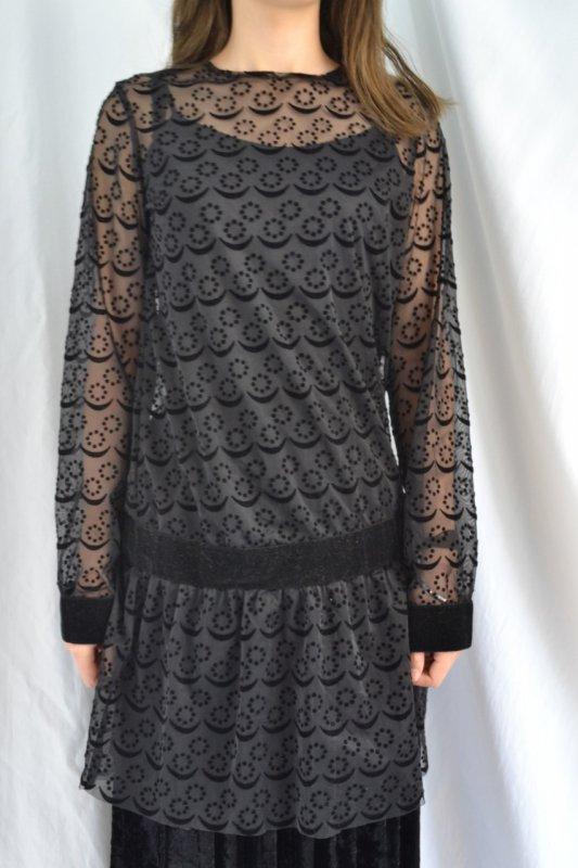 vintage black lace low waist design dress