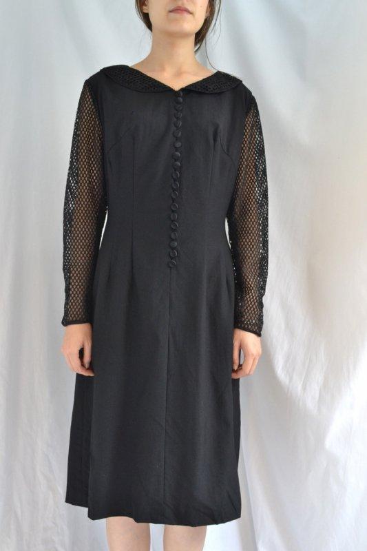 1950's vintage mesh design black dress