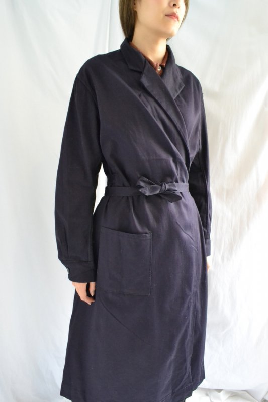 1950's France vintage black navy  cotton work coat