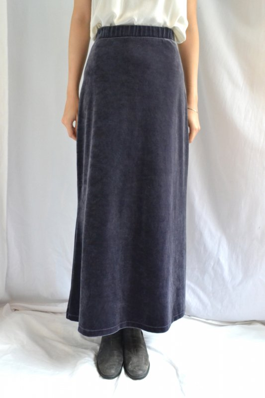 <img class='new_mark_img1' src='https://lara-vintage.shop-pro.jp/img/new/icons50.gif' style='border:none;display:inline;margin:0px;padding:0px;width:auto;' />Vintage navy grey velour long skirt