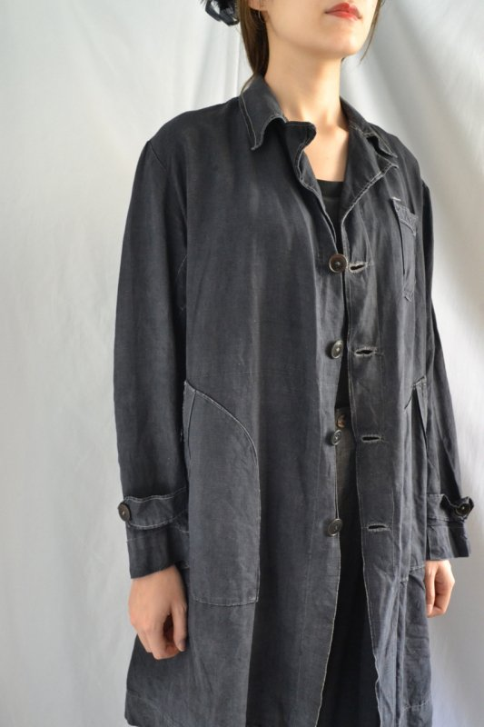 1930's France vintage black linen work coat