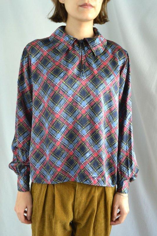 1980's Yves Saint Laurent vintage plaid pattern blouse