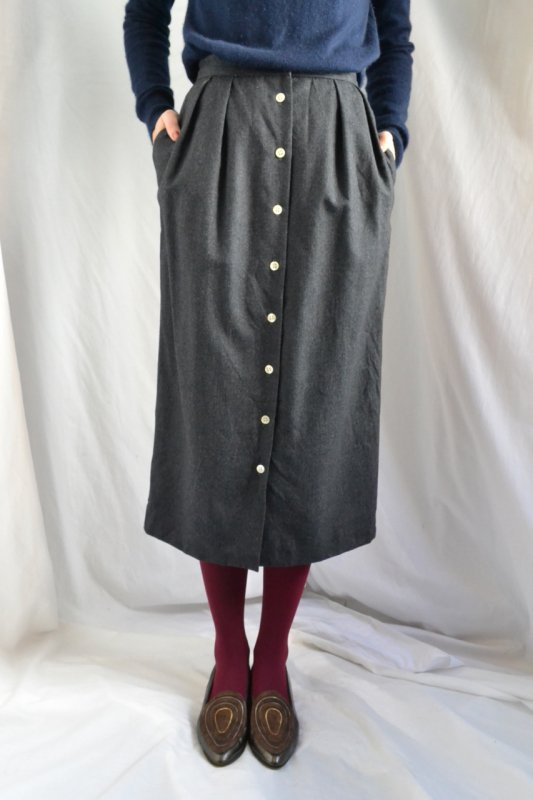 Gray wool front button vintage skirt
