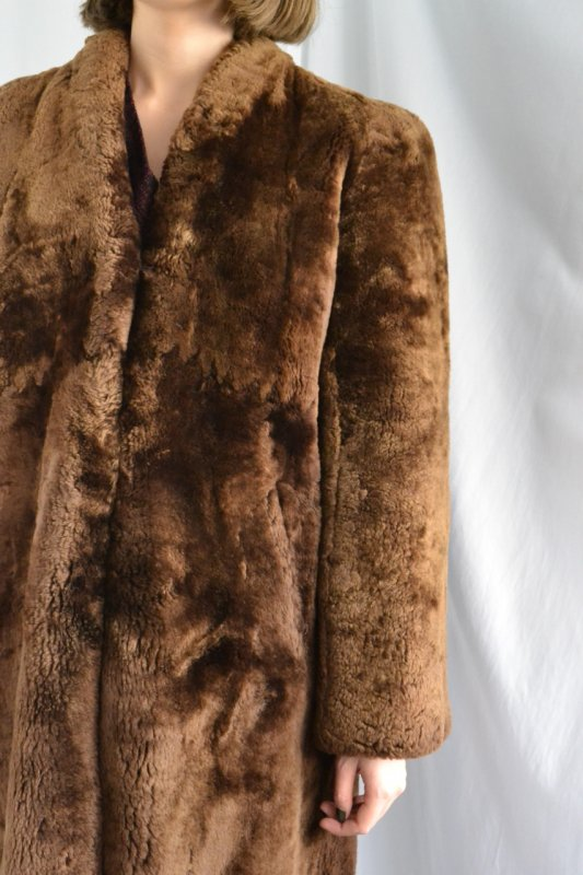 1930's-40's Vintage mouton fur long coat