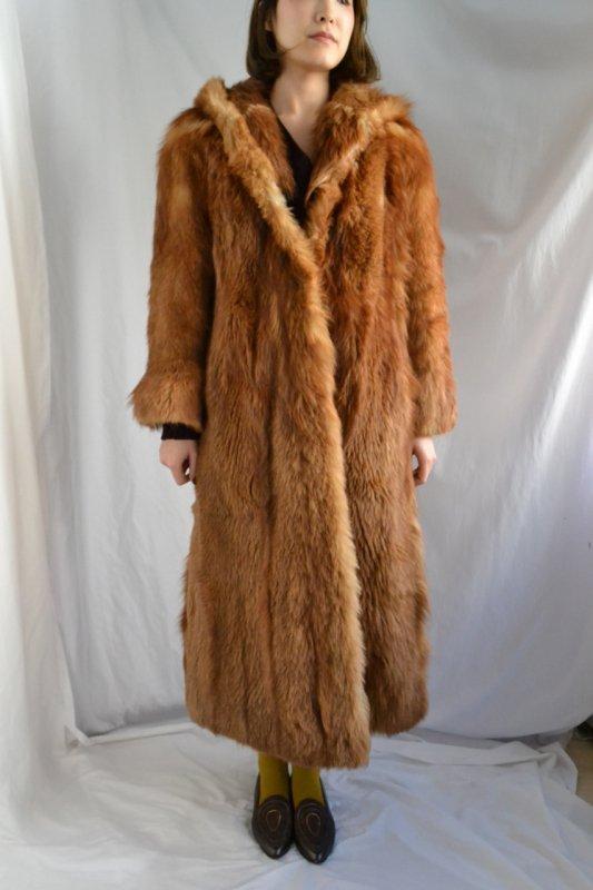 Vintage hooded fox fur long coat