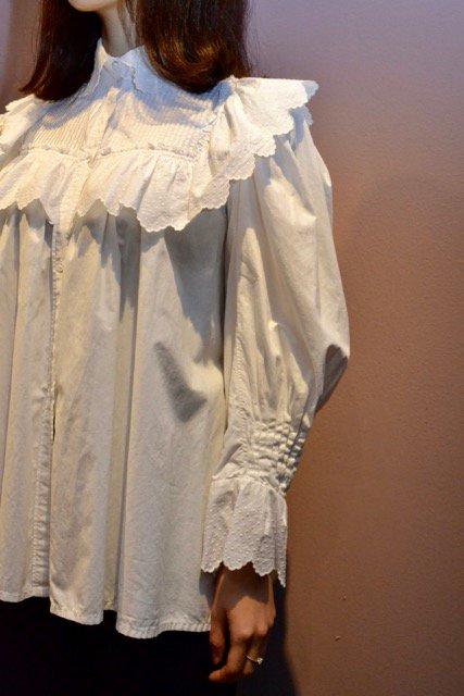 1900's France cotton frill antique blouse