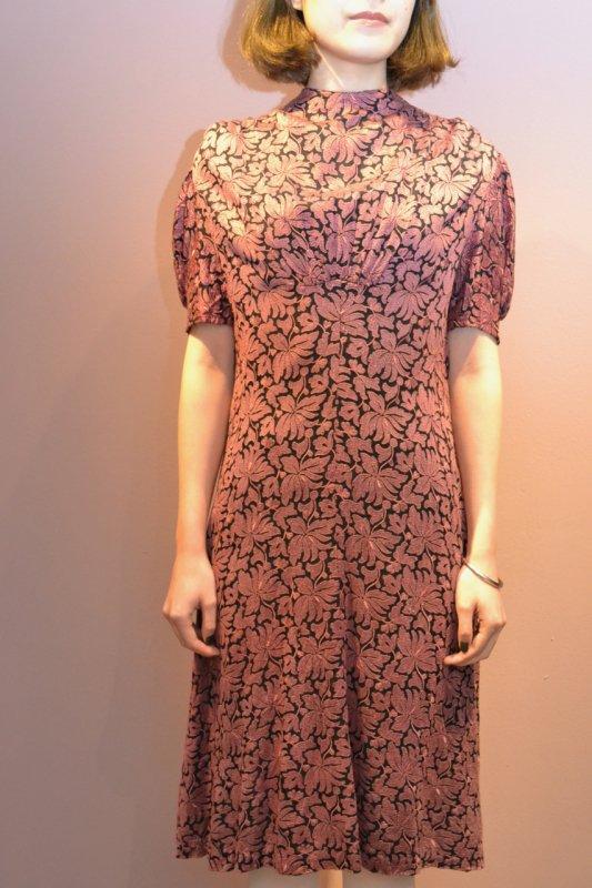 1950's purple flower vintage dress