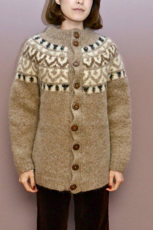 Fair isle vintage nordic knit cardigan