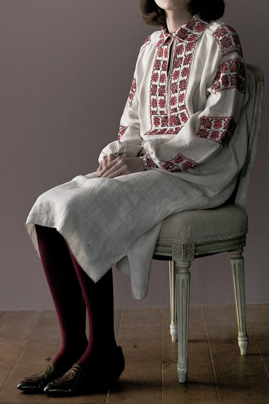 1900's Hungary antique embroidery linen dress