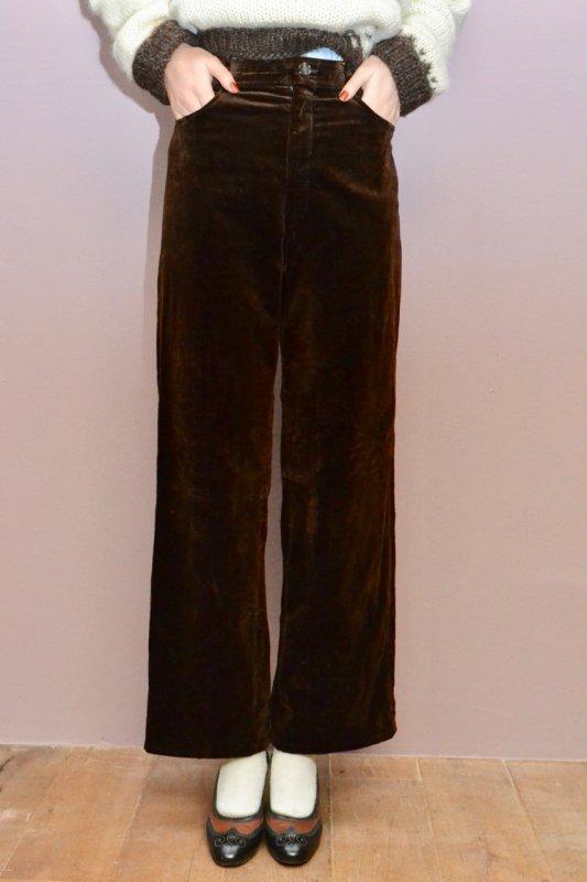 Vintage dark brown velvet flare pants
