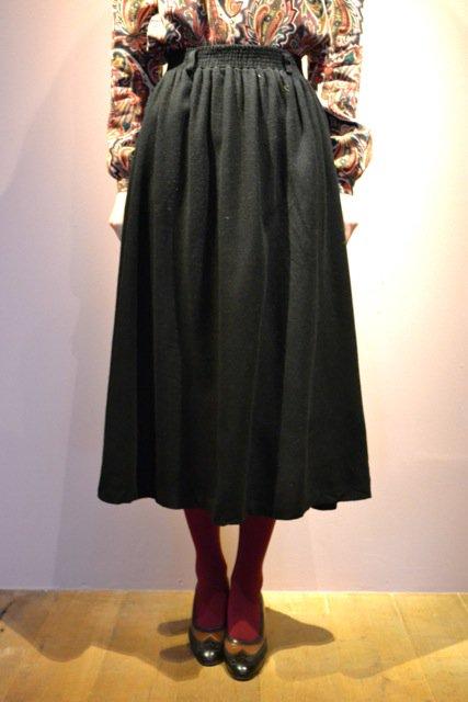 Vintage black wool flare skirt