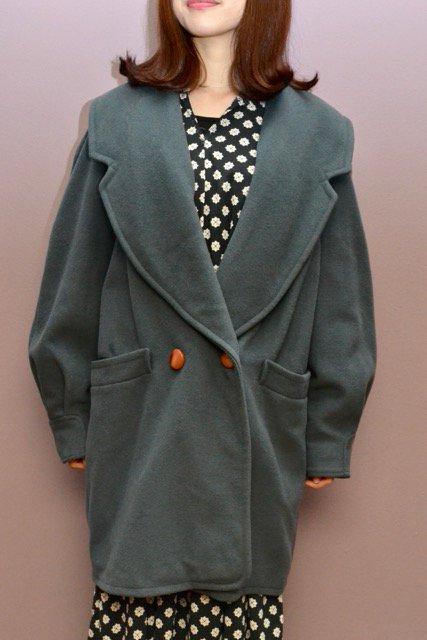 Smoky green color vintage wool coat
