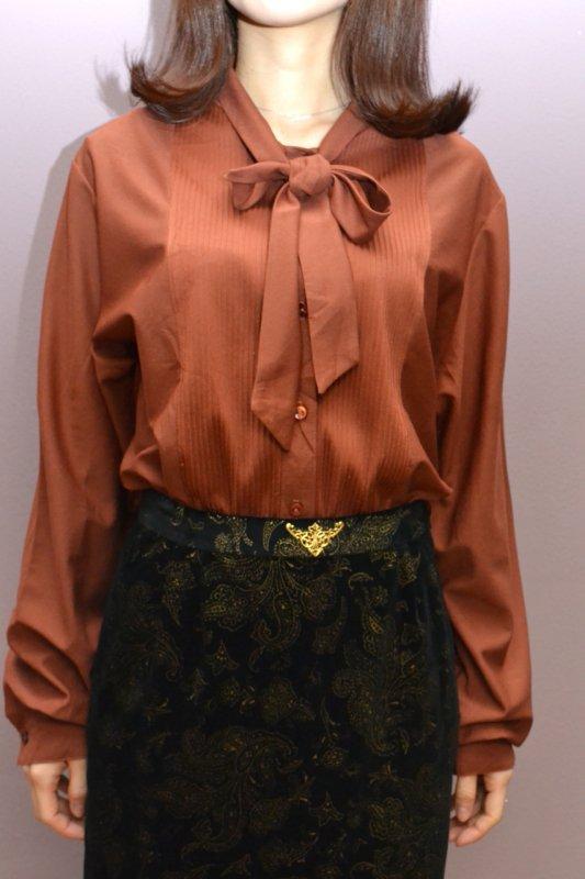 Vintage brick color bow tie blouse