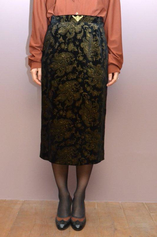Vintage velour gold pattern skirt