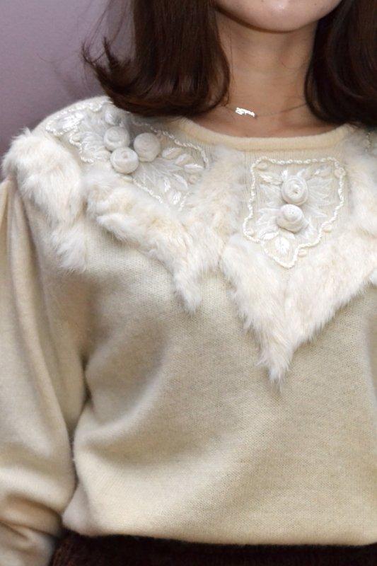 White fur design vintage sweater