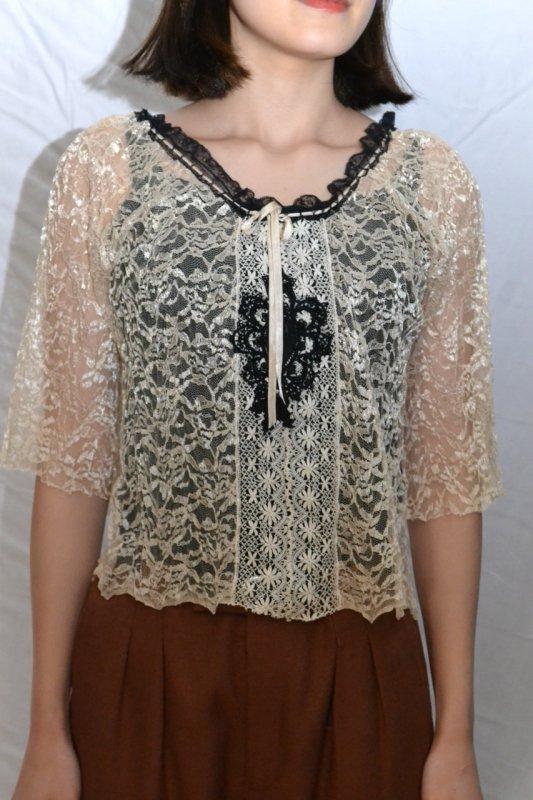 1930's France antique lace blouse