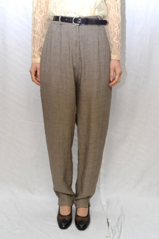 Check pattern vintage tuck pants