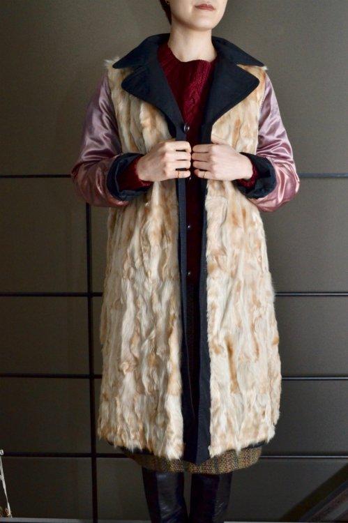 Vintage horse leather liner black cotton coat