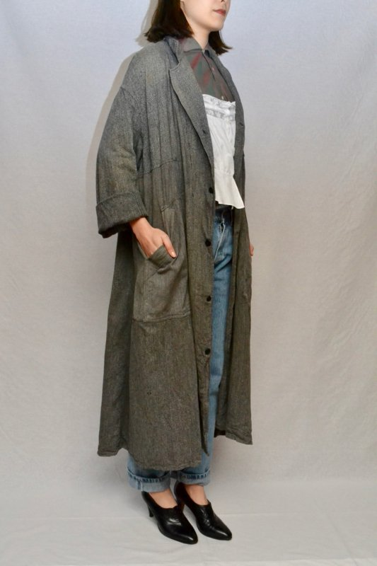 1950's French vintage black chambray patched coat