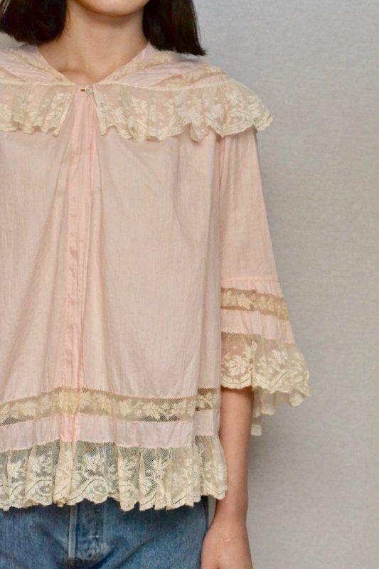 1900-1920's Antique cotton baby pink lace blouse