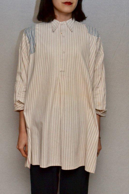 1930's France vintage patched cotton shirt