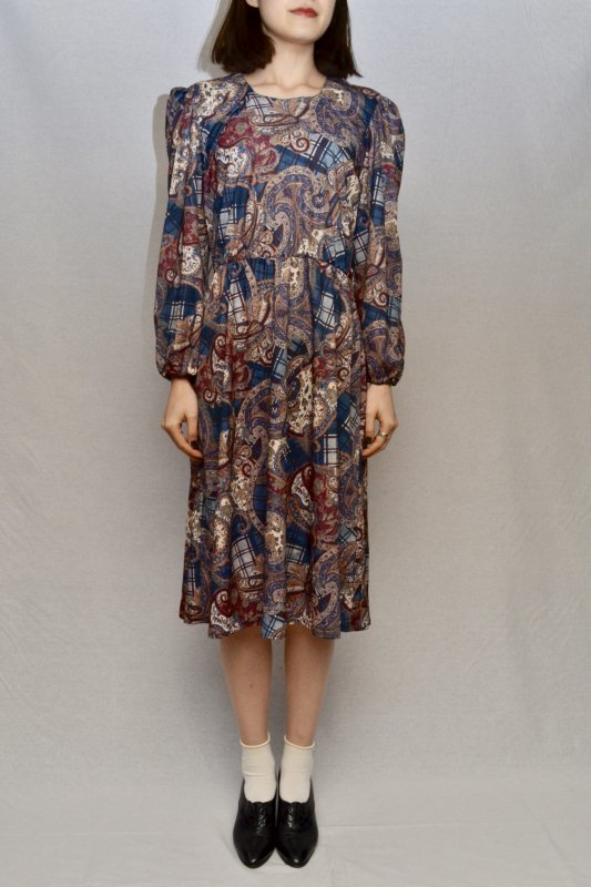 vintage  Plaid × Paisley motif dress
