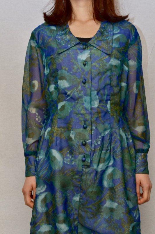 Botanical pattern see‐through design vintage dress