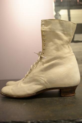 1880's France antique white boots