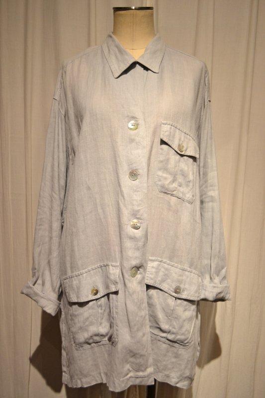 ヴィンテージライトグレーリネンロングシャツジャケット