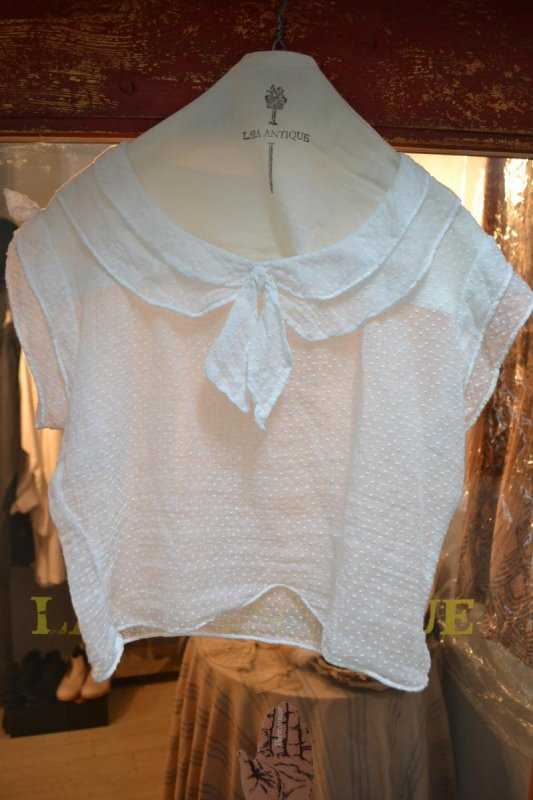 1900's France antique dot lace blouse