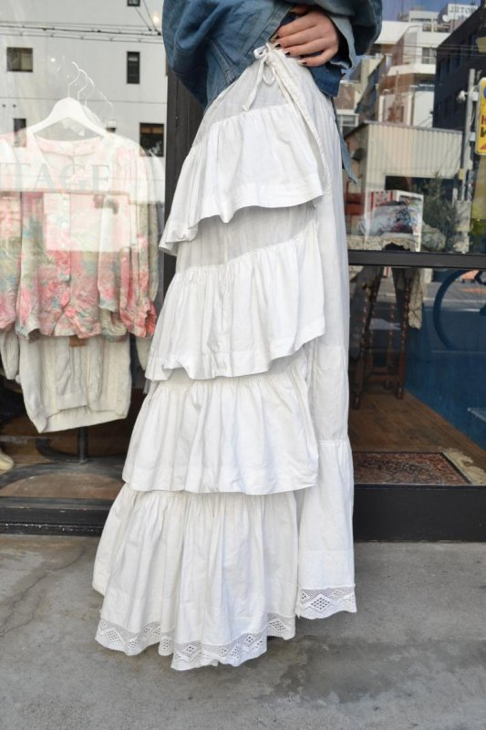 1900's france antique tiered frill petticoat skirt