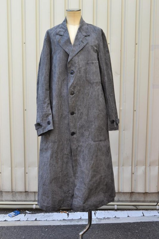 1930's France vintage cotton & linen black chambray atelier coat