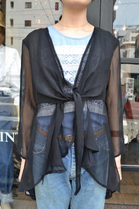 Vintage black see‐through cardigan