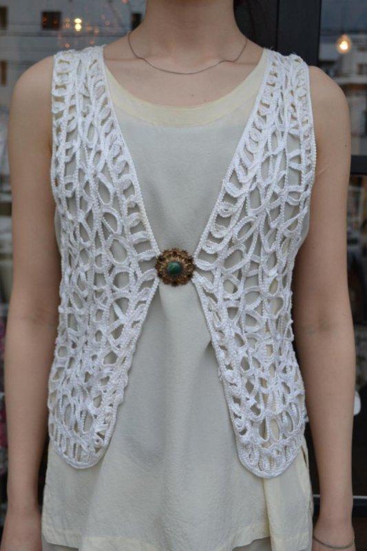 Vintage white lace gillet